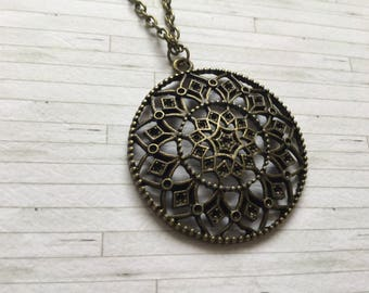 Steampunk Necklace, Mandala Necklace, Flower Necklace, Alternative Necklace, Gift for Her, Gift for Him, Birthday Gift