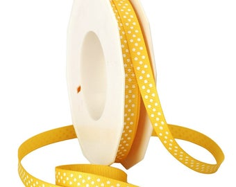 "CLEARANCE - 3/8"" Morex Yellow Swiss Dot Grosgrain Ribbon - 20 Yard Rolls - Only 2 Rolls Left"