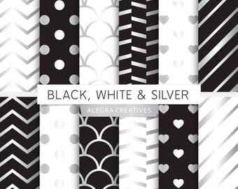 Black, White & Silver digital paper, silver, black and silver, white and silver, scrapbook papers (Instant Download)