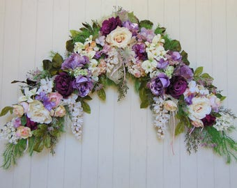 Purple Rose Swag, Purple Wedding Swag, Floral Swag, Wall Swag, Floral Wedding Arch, Romantic Swag,  French Country Swag, Mantel Swag