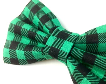 Green Buffalo Check Bow Tie for Dogs