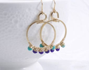 Turquoise and Lapis Lazuli Hoop Earrings, 14k Gold Filled, Hoop Earrings, Wire Wrapped, Handmade Earrings, Free Shipping