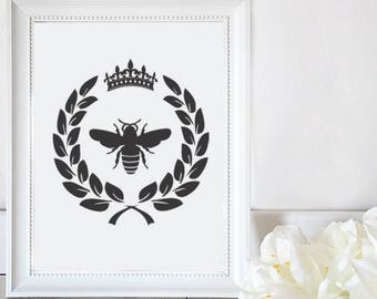 Queen Bee / Crown Bee Laurel-/ Clipart graphic files/ Cutting File in Svg, Eps, Dxf, Png, and JPG for Cricut, Silhouette