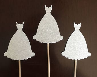 12 wedding dress cupcake toppers. Bridal shower, bachelorette party decorations.