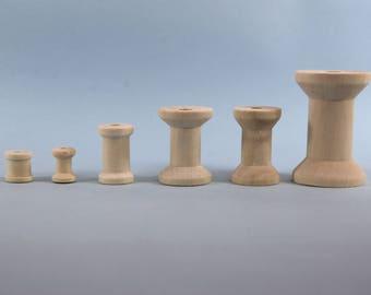 Wooden Spools / Bobbins - 28mm x 45mm - Empty Plain Ribbon Reels Sewing / Threading Crafts