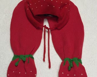 Red Knitted Strawberry Hat & Scarf Sets