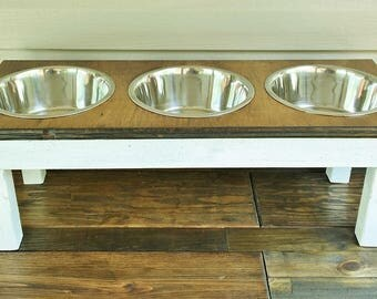 Farmhouse Style Dog Food Stand with Stainless Steel Bowls  Elevated Dog Feeding Station