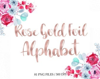 Rose gold foil alphabet clip art, digital rose alphabet, rose gold foil hand lettering, rose brush font clipart, download