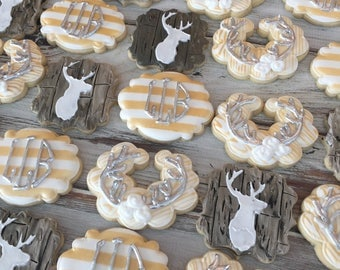 1 doz. Hunter Deer Head Wood Plank Monogram Cookies