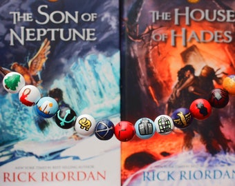 Complete Set of Percy Jackson/ Heroes of Olympus Bead Necklace ** now featuring glow in the dark trident bead**