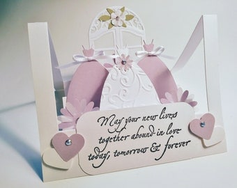 Wedding, Bridal shower,pop up step card, embossed bridal dress,2  bridesmaids, arched window with daisy flowers,available in 6 colors