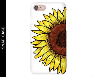 Sunflower Phone Case, Floral Phone Case, iPhone 7 Flower Case, Samsung Phone Case, Samsung Case, Sunflower Case, Hand Drawn Sun Flower Case