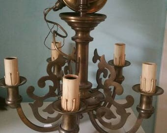 Great Sciolari Chandelier! Metal Design Vintage Luster Ceiling lamp brocante Look