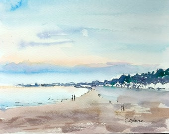 Original watercolour painting, Impressionist beach painting, summer evening at Sopot beach, Poland, moonlight and sunset, 18x24cm,