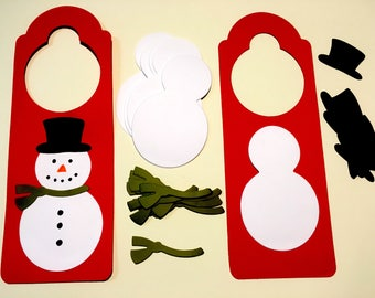 12 Snowman winter door hanger crafts for kids. Paper holiday crafts. Quick crafts for kids.