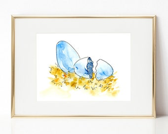 Easter Egg DIGITAL DOWNLOAD, Easter Printable Art, Spring Printable Art, Nursery Art, Hatched egg, Blue egg printable art, Blue Easter egg