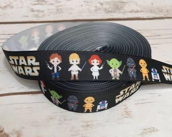Star Wars Ribbon by the Yard, Craft Ribbon, Themed Ribbon, grosgrain ribbon, Star Wars Ribbon