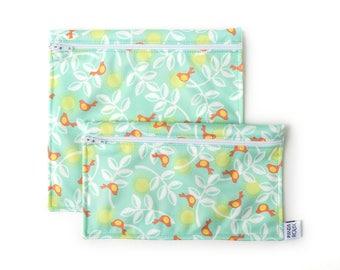 Sacs à sandwich et collation réutilisables - Printemps - Reusable bags - 1 snack bag 1 sandwich bag - Spring