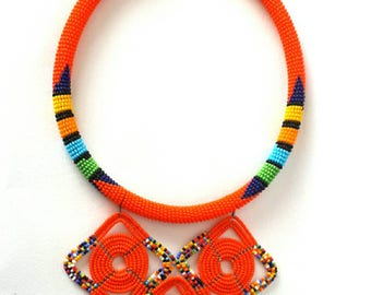 African necklace, Orange beaded necklace, African jewelry