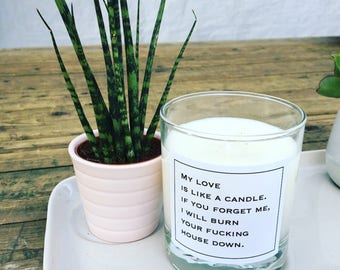 """Scented candle """"Burn"""" - candle - scented candles - vegan - soy"""