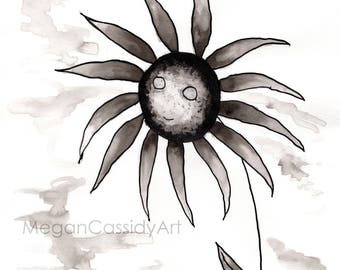 Creepy Abstract Gloomy Sunflower Ink Original Print
