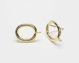 E0172/Anti-tarnished Gold Plating Over Brass/Oval Earrings/11x15mm/2pcs