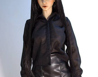 SD BJD clothes - Black chiffon shirt (Iplehouse EID)