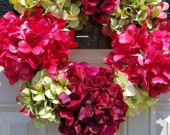 Hydrangea wreath, summer wreath, floral wreath, spring flower wreath, pink hydrangea