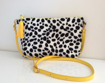Dalmation print crossbody bag, animal print bag, dalmation print bag with detachable strap, tassel bag, clutch bag