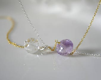 Necklace Quartz crystal or amethyst faceted Rondelle chain Rock crystal quartz or amethyst faceted Rondelle