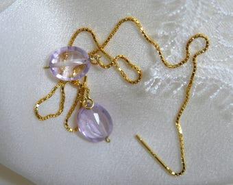 Amethyst Oval Faceted ear piercing Dangle earrings box chain Amethyst oval faceted Ohrdurchzieher Earrings necklace