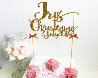 Christening Name Cake Topper with Date,  Glitter Cake Topper, Baptism, Naming Ceremony, Customised Cake Decor, Cake Smash, Photo Prop