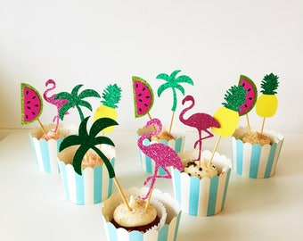 Tropical Cupcake Toppers, Pineapple, Palm Tree, Flamingo, Melon, Hawaiian Party, Luau, Tiki Party, Summer Cocktail, Fiesta Time, Set of 12