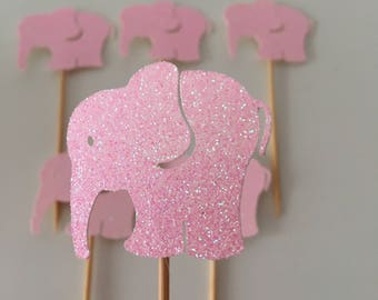 Elephant Cupcake Toppers, Set of 10, Glitter Picks, Baby Shower, 1st Birthday, Pink and Blue, Boy Birthday, Girl Birthday, Party Toppers