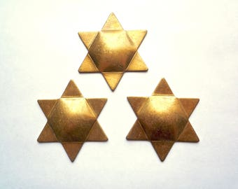 "Large vintage brass ""Star of David"" blank, 4 solid bronze 45mm (1 & 3/4s inch) Jewish stars"