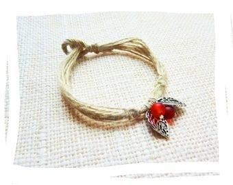Nature bracelet charms, hemp leaf and glass beads
