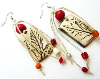 Rustic earrings natural hemp, glass, wood and ceramic pendant