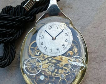 vintage silver plated fruit spoon with antique watch movement, parts and dial set in jewellery grade resin
