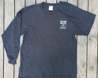 Vintage 90's Olympic Games Squaw Village Lake Tahoe Unisex Medium Long Sleeve Embroidered T-shirt USA Winter Games Souvenir Hipster Cool Tee