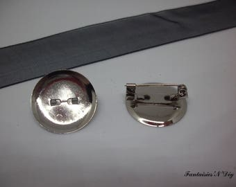 (SCB1) Set of 4 cabochon 18mm color silver pin/badge holder