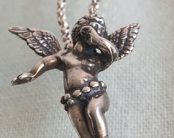 Silver Whispering Angel Necklace
