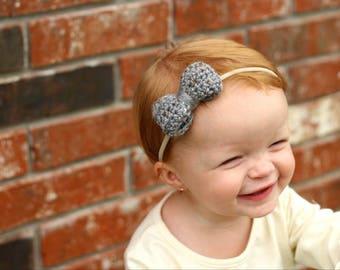 Gray Tweed Nylon Headband / Nylon Baby Headband / Nylon Headband / Baby Girl Headband / Nylon Baby Headband