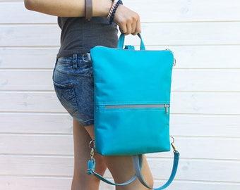 Turquoise Blue Waterproof Backpack, Vegan Mini Rucksack