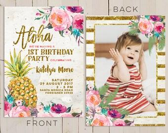 aloha pineapple first birthday invitation, hawaiian first birthday invitation, summer birthday party invitation, luau first birthday party