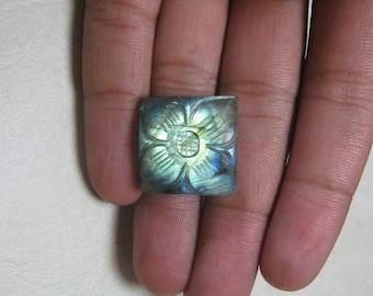 Natural Labradorite Carving Gemstone Square shape loose semi precious gemstone size 22 x 8 mm approx ET 032 Labradorite Flashy