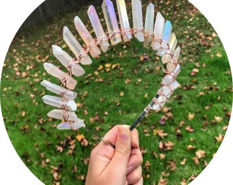 The Sarah - Opal Rose crystal quartz headband crown wrapped in gold rose gold or silver wire
