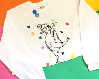 Hand Painted and Printed Hippo Sweatshirt Reduced