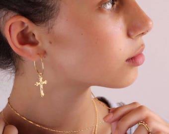 Cross Earrings, Cross Earrings Gold, Cross Hoop Earrings, Delicate Cross Earrings, Cross Earring, Gold Cross Earrings, Cross Hoop Earrings