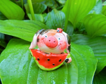 Reserved polymer clay pig with watermelon