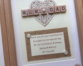 Handmade Wedding Gift, Bride  Grooms Parents, Mum & Dad Thank you Gift, SCRABBLE ART FRAME  Personalised  Picture,   Rustic